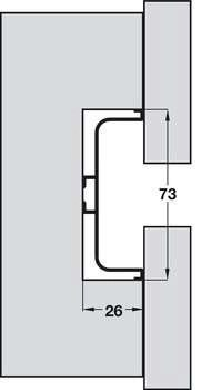 Profile Handle, for Horizontal Fixing between Doors and Drawers, Gola System C Plus