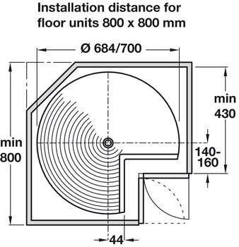 Three-Quarter Circle, for Corner Units