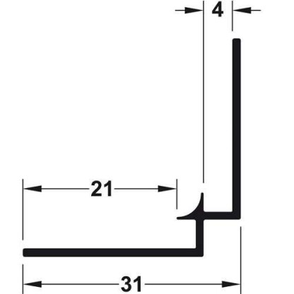 Internal Corner Profile, for Alusplash™ Splashbacks Size