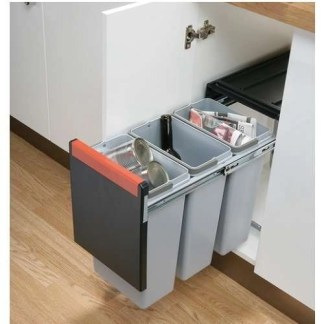 Cabinet Pull Out Waste Bins 3x 10 Litres Cube