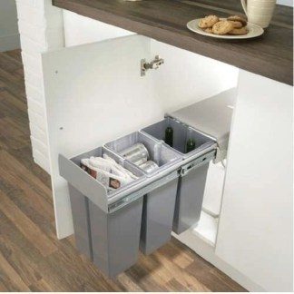 Kitchen Cabinet Pull Out Waste Bins 3x 10 Litre