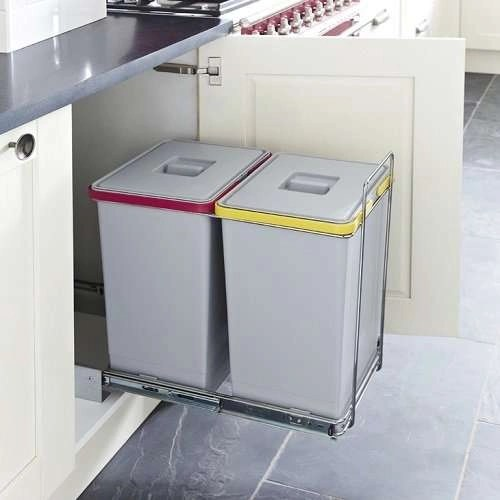 Recycling Pull Out Waste Bins 2x 24 Litres Ecofil Kitchen Bins