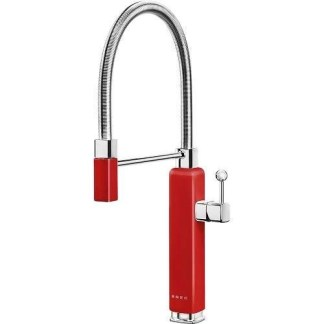 Red Mixer Taps Single Lever With Pull Out Spray