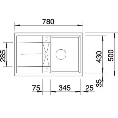Granite Sink Blanco Metra 45s - size