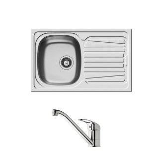 Sink and Tap Set, Single Bowl with Drainer, 790 mm, Sparta