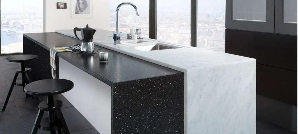 Carrara-and-Black-Granite worktop
