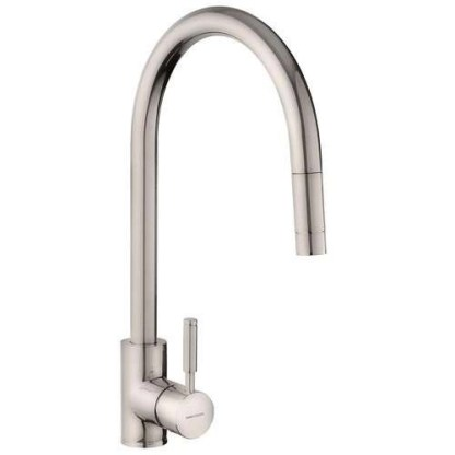 Tap, Single Lever, Pull Out Spray, Rangemaster Aquatrend Brushed finish