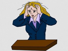Cartoon woman stressed via pixabay