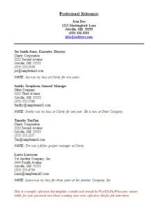Sample Job Referencews Sheet (©WorkToTheWise.com)