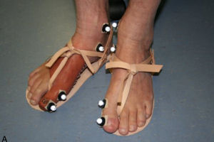 One of Dr Finch's volunteers, wearing a replica toe and Egyptian-style sandals. Image: Dr Jacky Finch