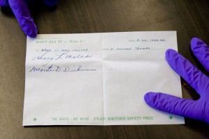 A note from the past: the only clue to who compiled the capsule. Image courtesy of Washington Closure Hanford