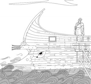 Drawing (copyright) Kirsten Flemming of the way two rams were mounted on the bow of a Roman/Hellenistic  warship.