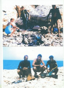 The three finders of the ram photographed in 1964, left to right:  Derek Schofield, Ken Oliver, and Mick Lally, on the beach in Libya with the ram lying on the ground.  The woman diver in the top picture is Sheila Yule.