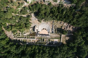 ALBANIA: An aerial view of the Hellenistic theatre at Butrint.