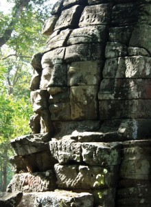 The face towers at Banteay Chhmar are prototypes for those at the Bayon in Angkor.