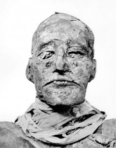 Using recent medical examination techniques on the mummy of Ramesses III (seen here as photographed in 1912) revealed his throat had been cut.
