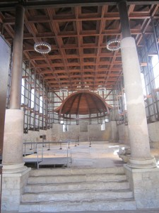 The great basilica with its marble floor. The internal cladding of the new cover is incomplete.