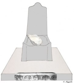 Artist's initial reconstruction of how the block would have sat within the original throne. Carved fragments found elsewhere at the site may have formed the base.
