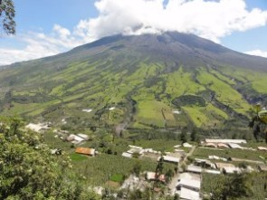 In addition to its archaeology, Ecuador is full of volcanoes, among them the active Tungurahua volcano shown here.