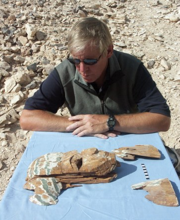 Donald Ryan studies a coffin face-piece reconstructed from fragments recovered from KV 60