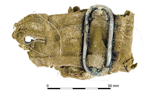 An Australian jacket belt and attached buckle. [Image: Oxford Archaeology]