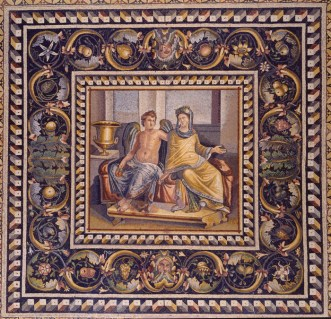 Sumptuous mosaic showing Love and Psyche