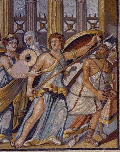 Mosaic showing Achilles armed with shield and spear as he reveals himself to Odysseus on the island of Skyros. A pipe for the spring of water is to the left of the figure of Achilles.