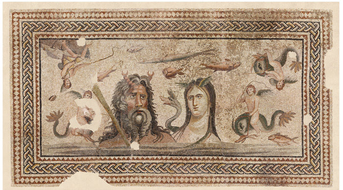 A mosaic featuring bearded Oceanus and his wife Tethys – an aquatic scene with sea creatures including different types of fish and dolphins ridden by cupids.