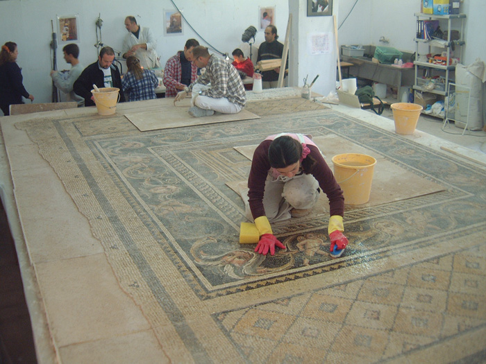 Conservation of a mosaic depicting Menander's story of the Synristosai ('ladies who lunch').
