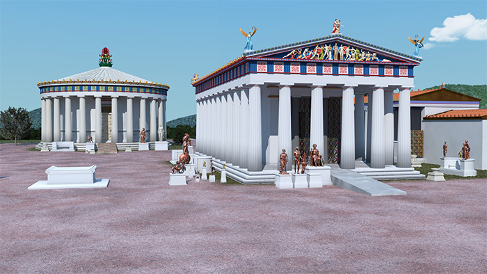 An artistic reconstruction of the Temple of Asclepius at Epidaurus, with its ramp.