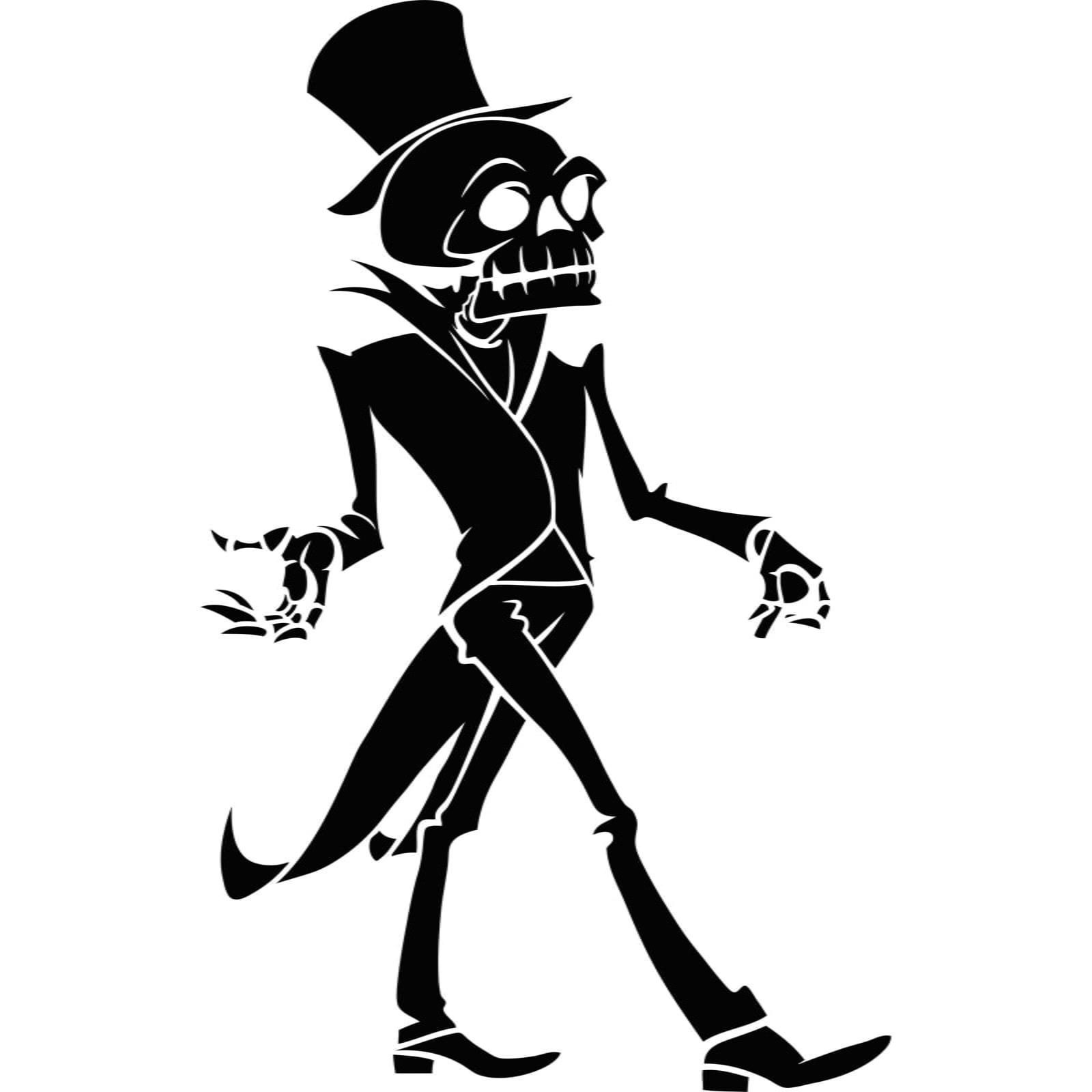 Skeleton In Top Hat Halloween Wall Sticker