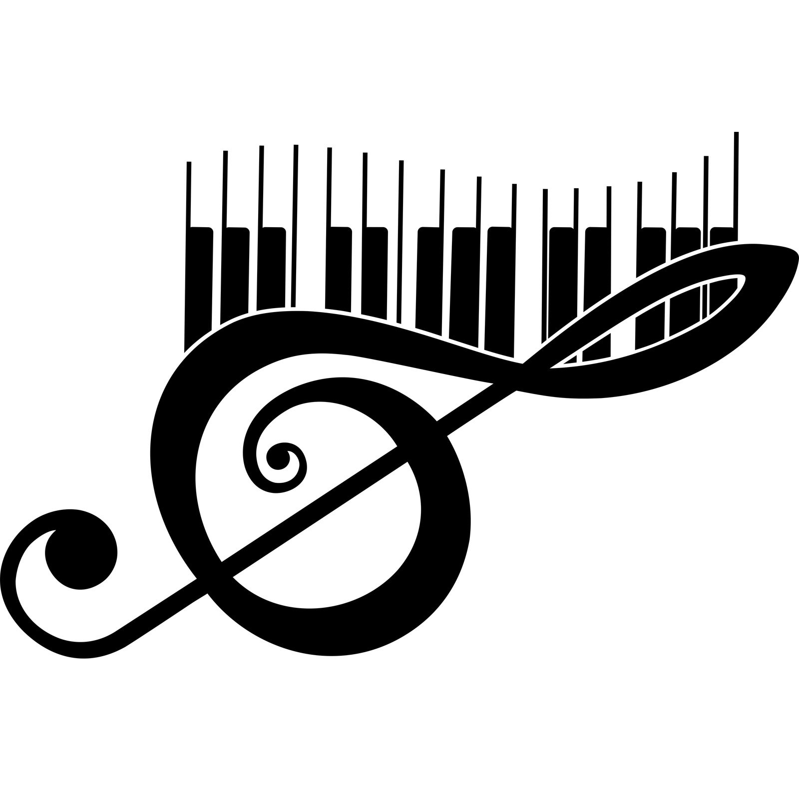 Treble Clef And Piano Keys Musical Wall Sticker