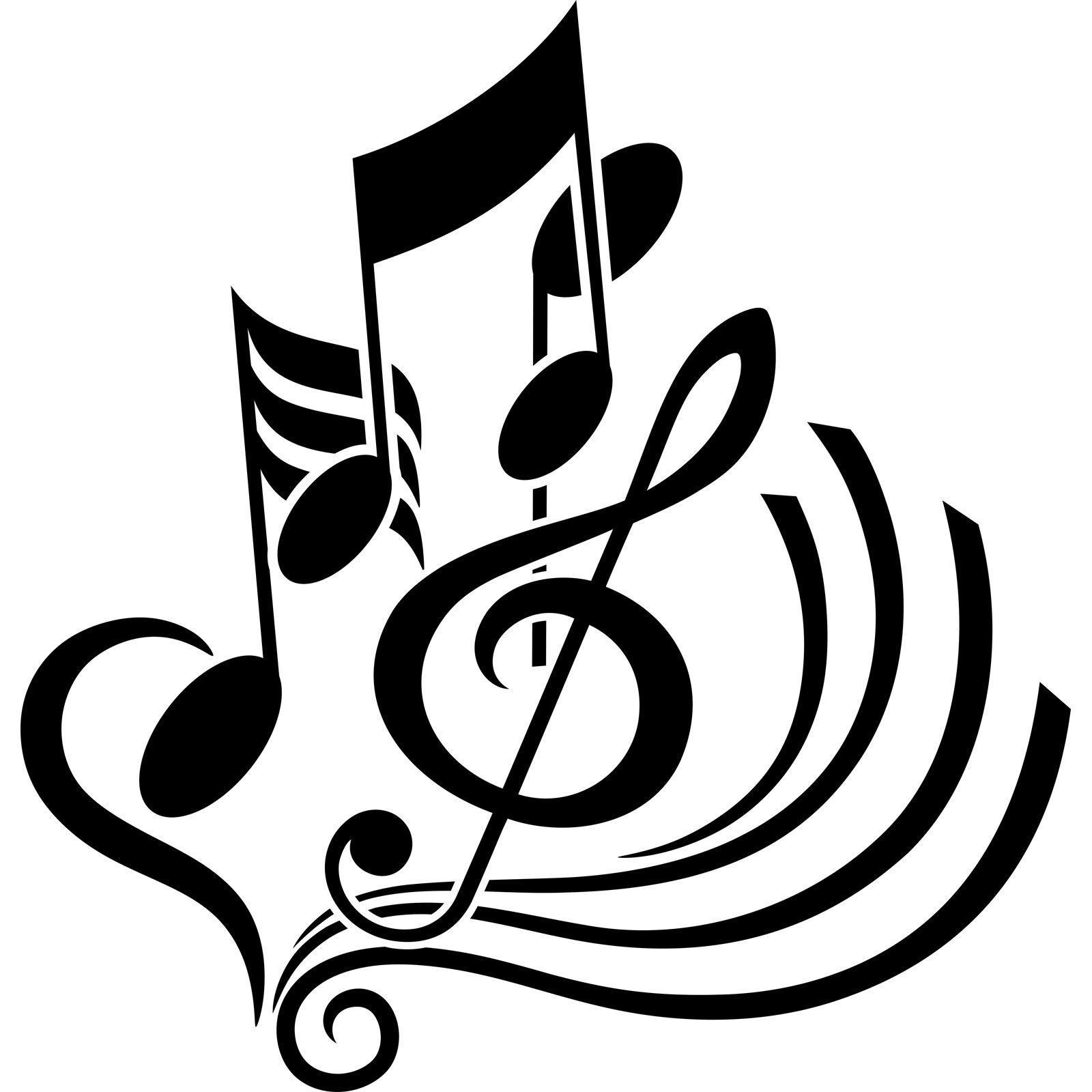 Treble Clef Notes Abstract Musical Wall Sticker Decal