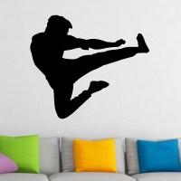 Martial Arts Flying Kick Karate Kung Fu Wall Sticker ...
