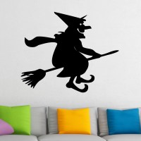 Cartoon Smiling Witch on a Broomstick Halloween Wall ...