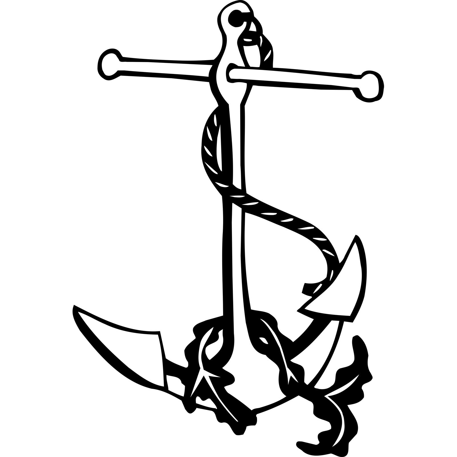 Anchor And Seaweed Nautical Wall Sticker