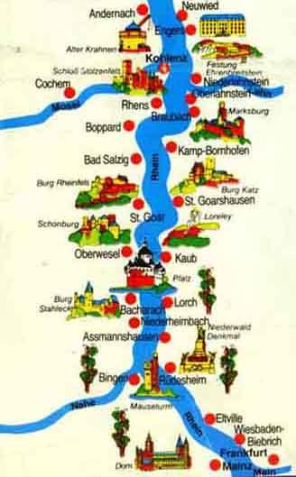 Map Rhine River Castles
