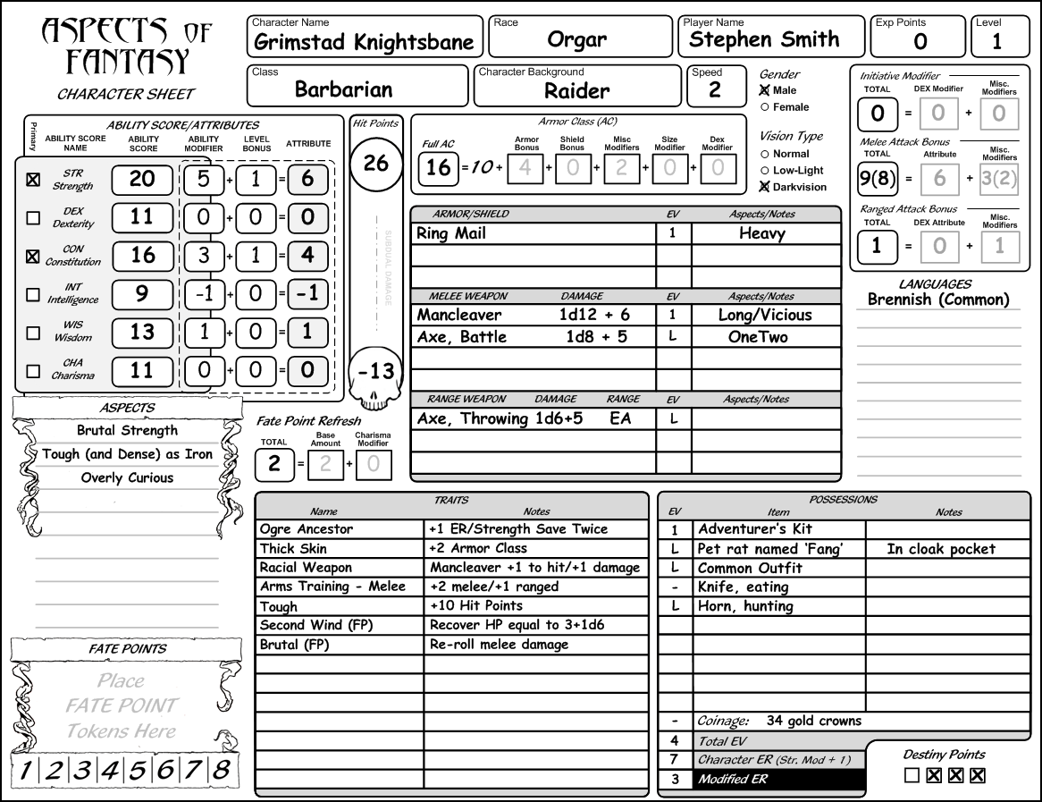 Aspect Of Fantasy Character Sheet