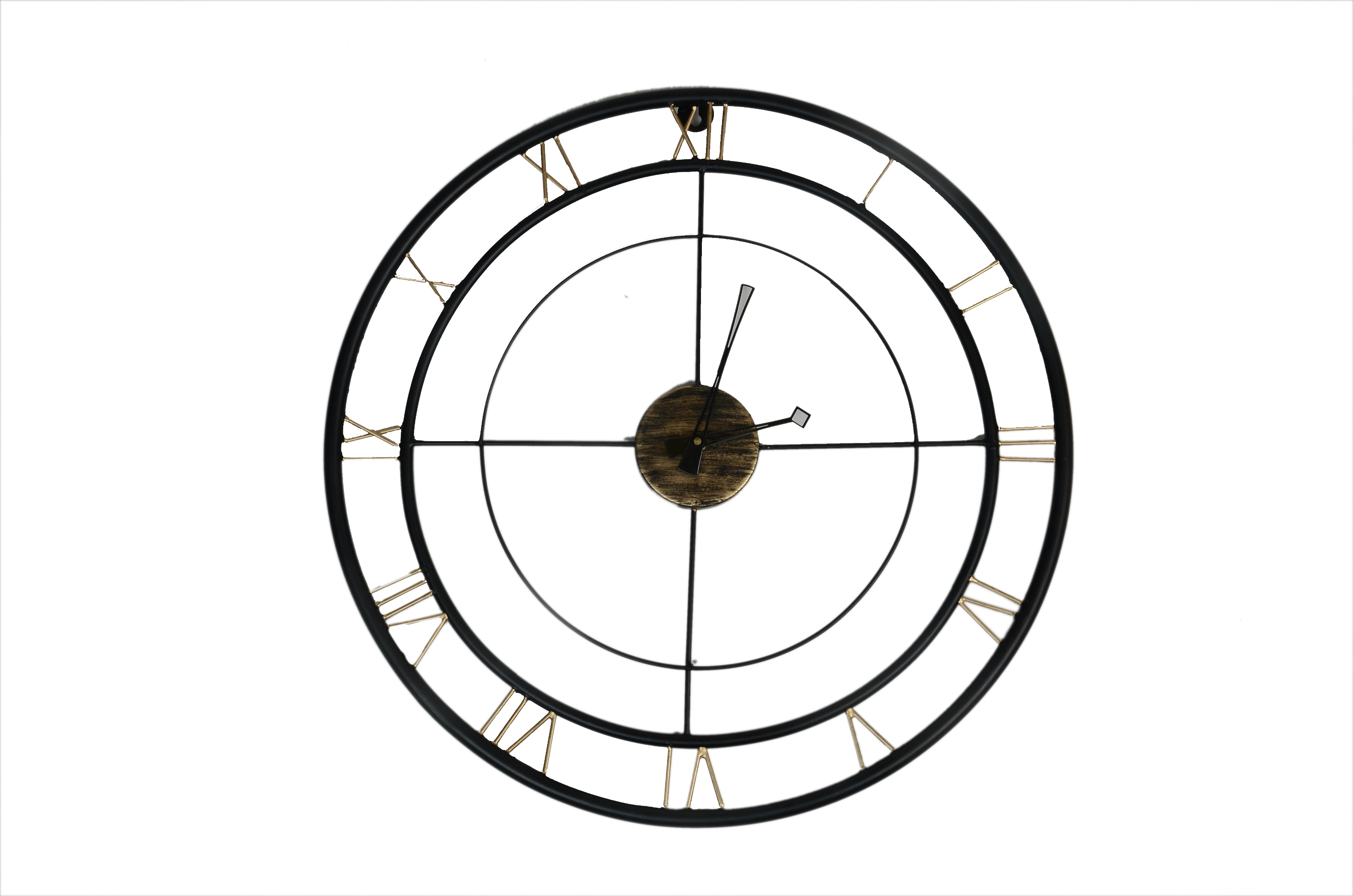 Metal Clock Round Black Gold