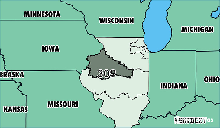 Where Is Area Code 309 Map Of Area Code 309 Peoria Il
