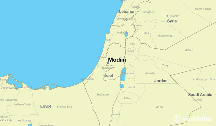 Where is Modiin Israel  Modiin Central District Map  WorldAtlascom