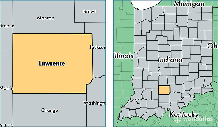 Lawrence County Indiana  Map of Lawrence County IN