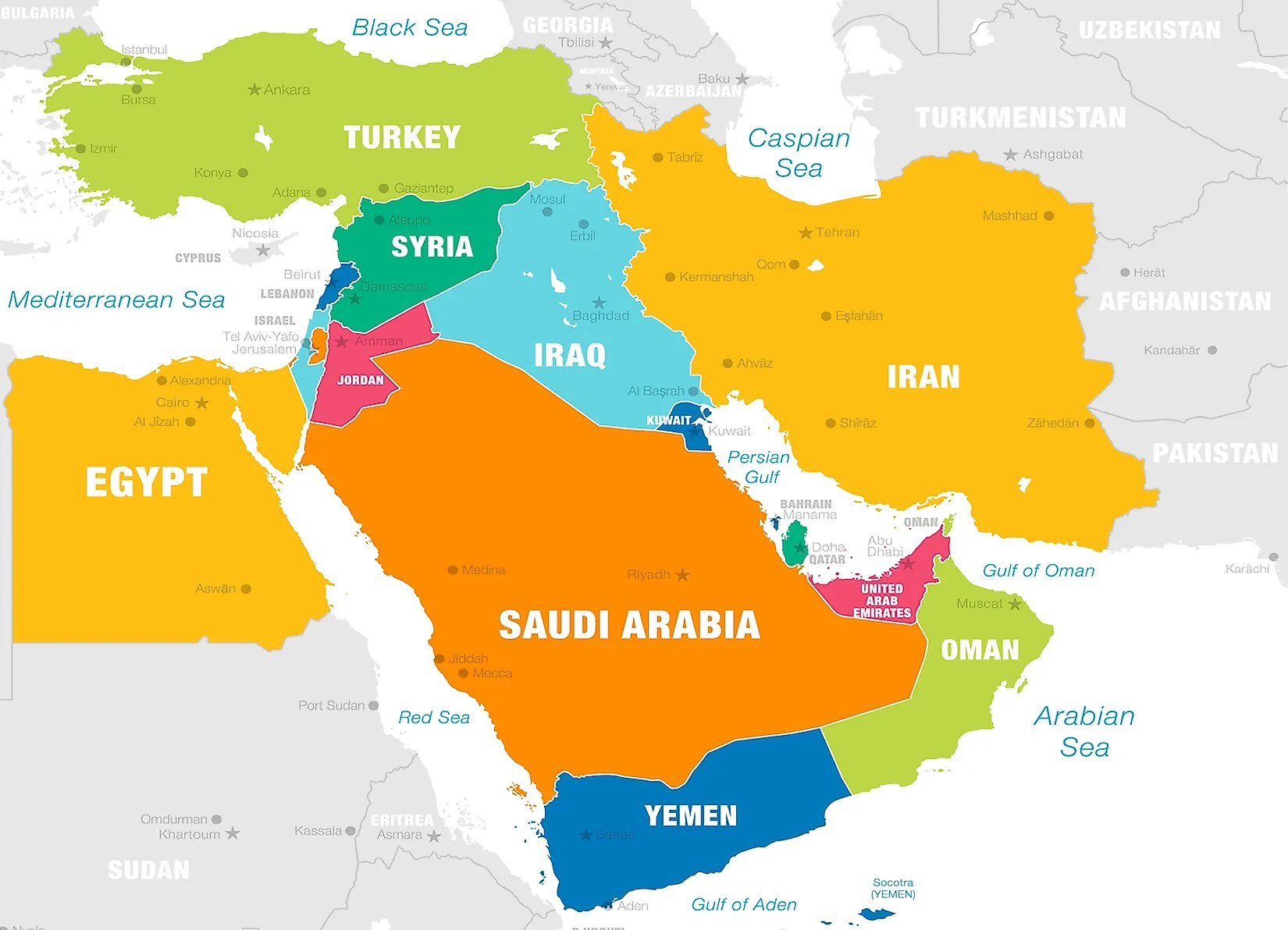 How Many Countries Are There In The Middle East