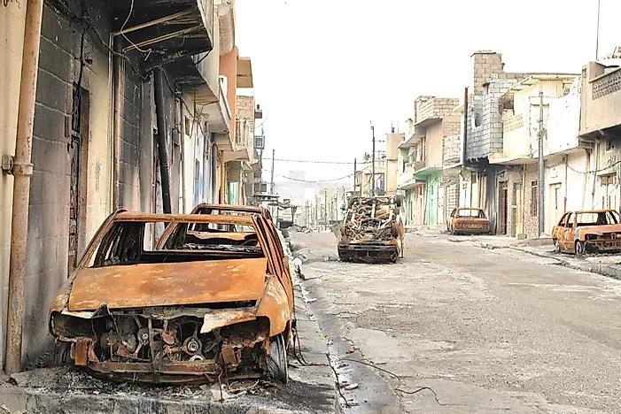 Uma área de Bagdá destruída pela guerra.