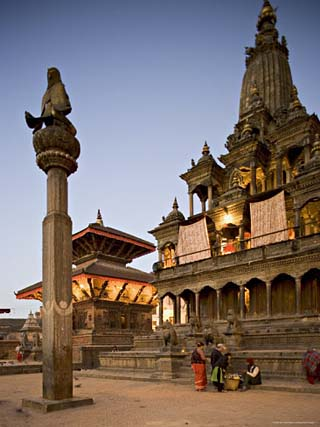 Durbar Square at Dawn with Garuda Statue on Column, Unesco World Heritage Site, Nepal