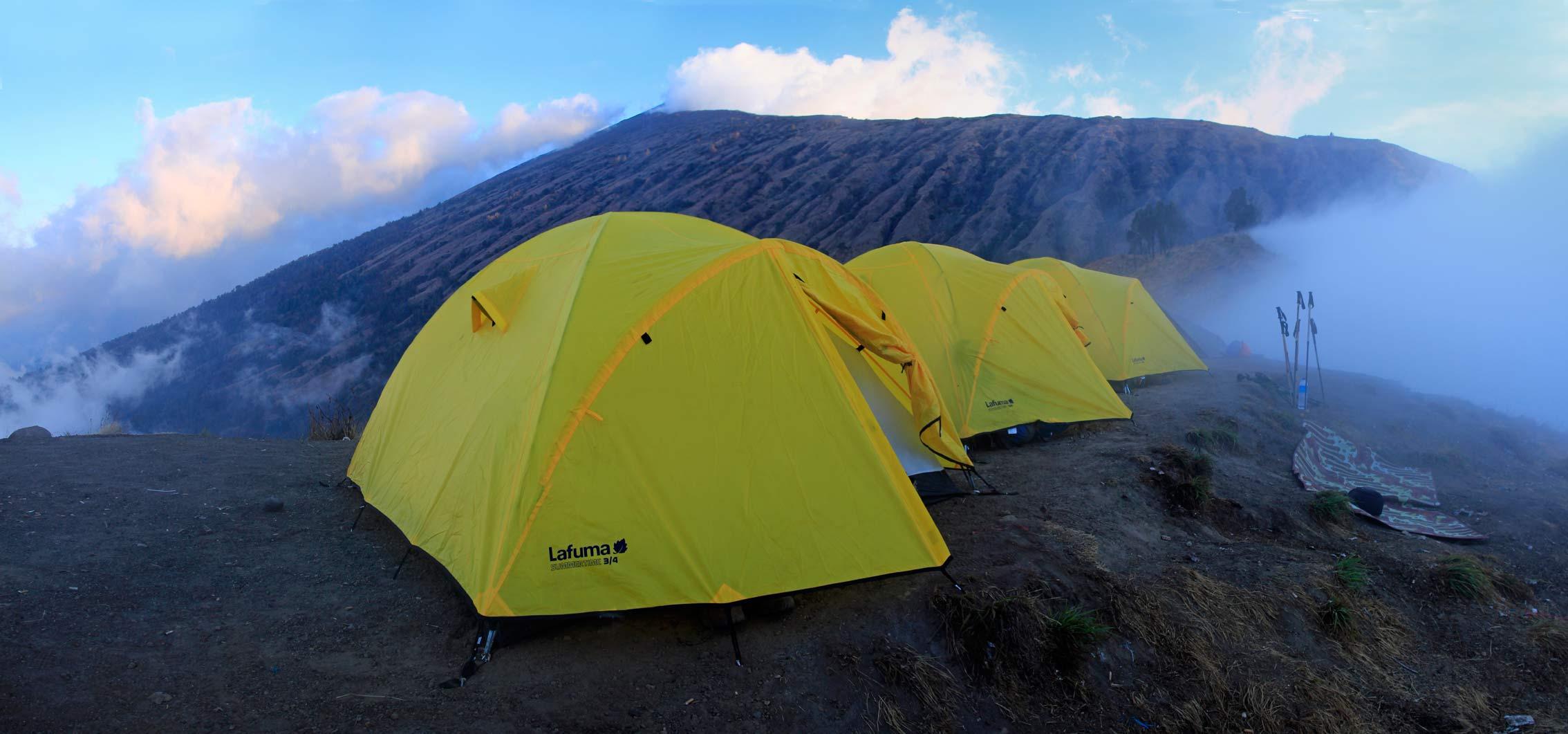 Camping on Sembalun crater rim, Mount Rinjani, Lombok ...
