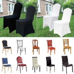 Folding Chair Covers For Wedding Armchair Slipcover Patterns White Black Spandex Fitted Party Banquet