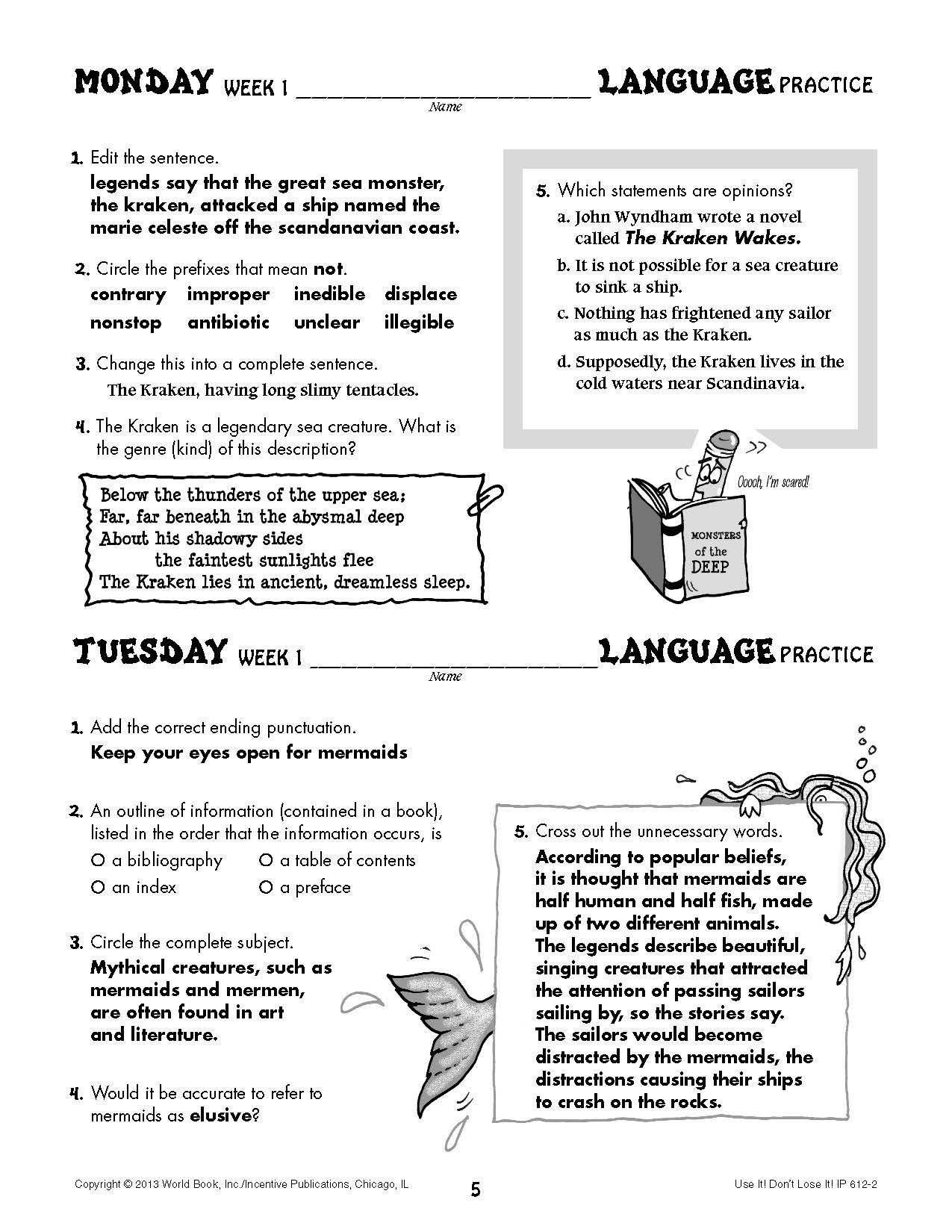 Daily Language Practice Grade 7: Use It! Don't Lose It!   World Book [ 1650 x 1275 Pixel ]