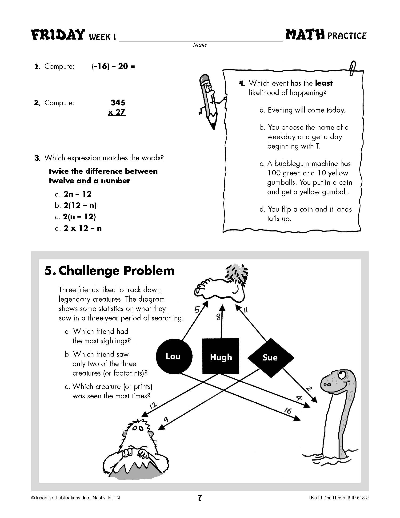 small resolution of Daily Math Practice Grade 7: Use It! Don't Lose It!   World Book