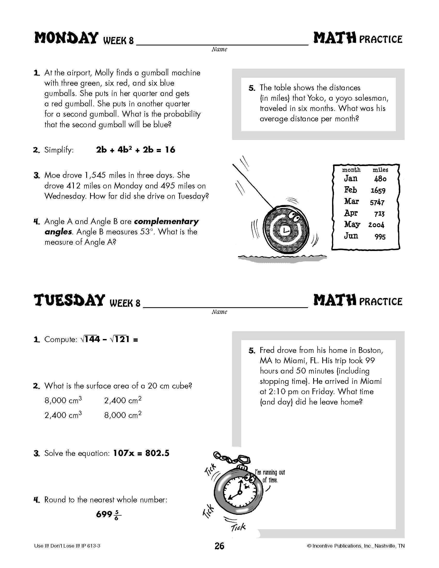 Daily Math Practice Grade 8: Use It! Don't Lose It!   World Book [ 2200 x 1700 Pixel ]